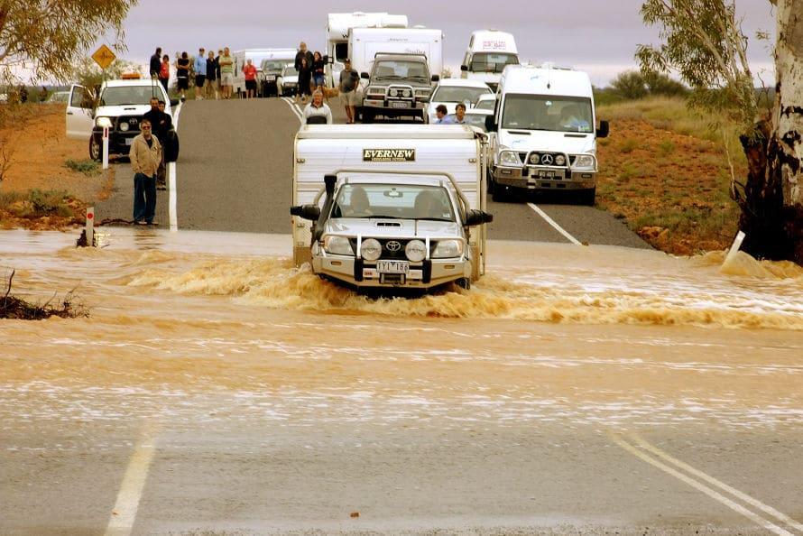 caravan insurance repair - flooded road