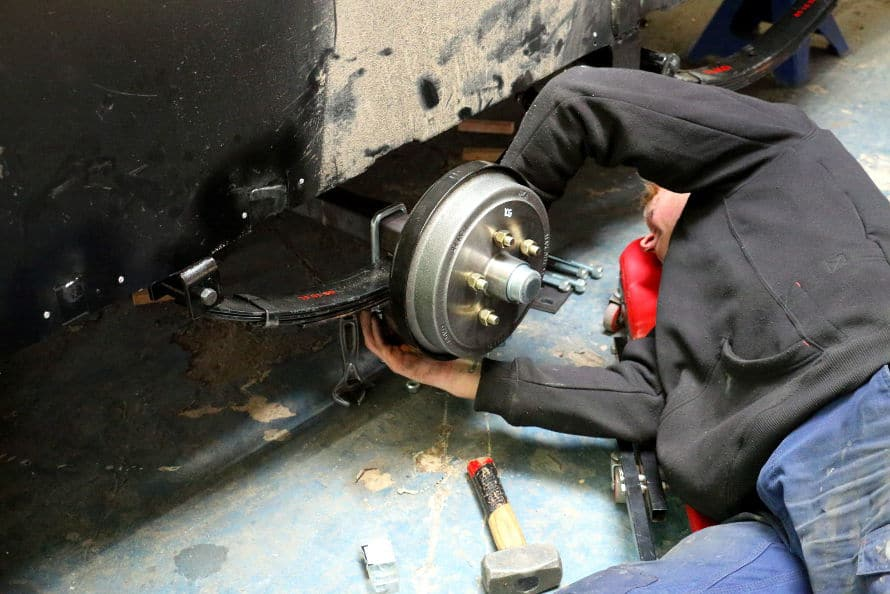 caravan insurance repairs - suspension work at caravan service centre