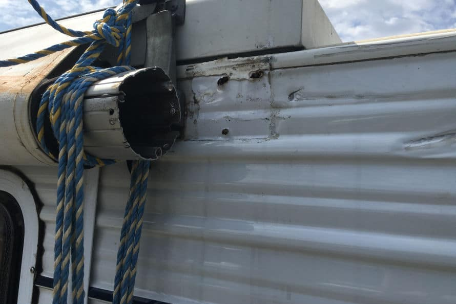 Caravan insurance repairs - wind damage to awning