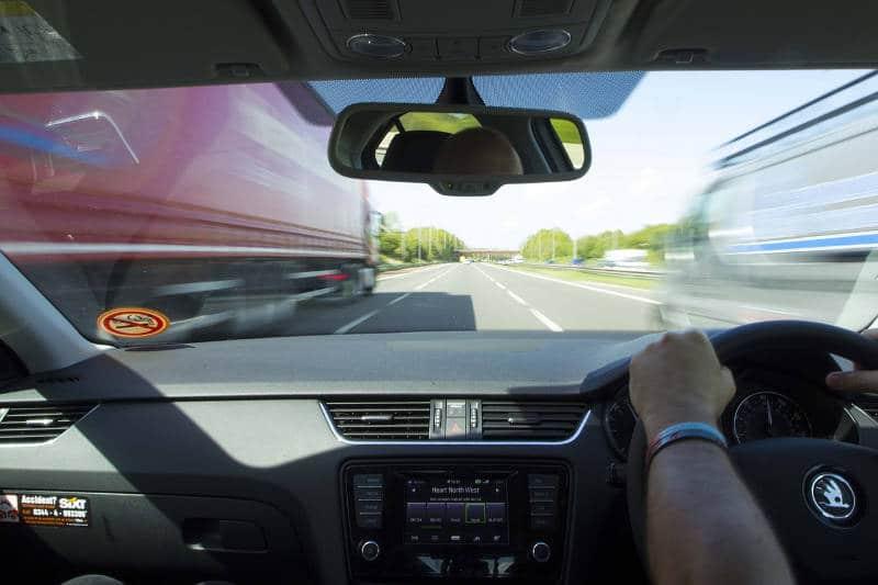 caravan towing highway driving