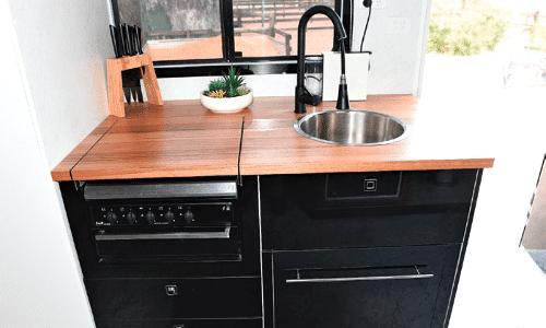 Mack truck horse transport vehicle - caravan revamp - kitchen